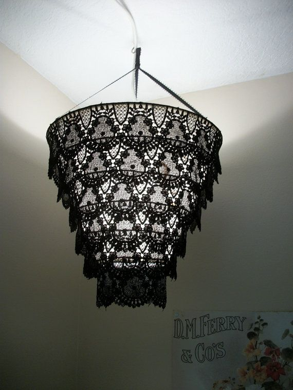 Venise Lace Faux Chandelier Pendant Lamp Shade Black By Daisycombridge