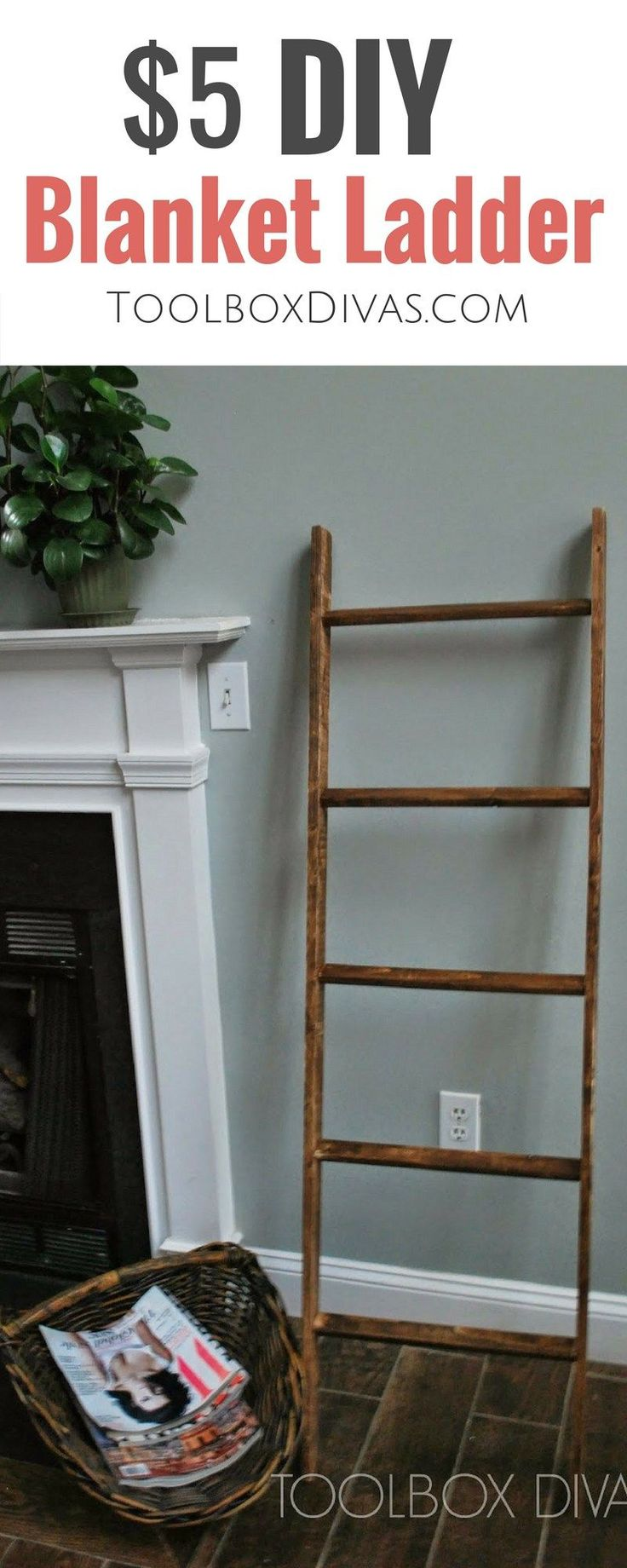 Cheap and inexpensive $5 Pottery Barn Knockoff. Learn how to tutorial/DIY on making a throw blanket ladder. Perfect for a baby's nursery. free plans woodworking #Toolboxdivas @toolboxdivas #blankets #ladder #potterybarn #cozy #winter #blanketthrow #SimpleWoodworkingProjectsFreePlans