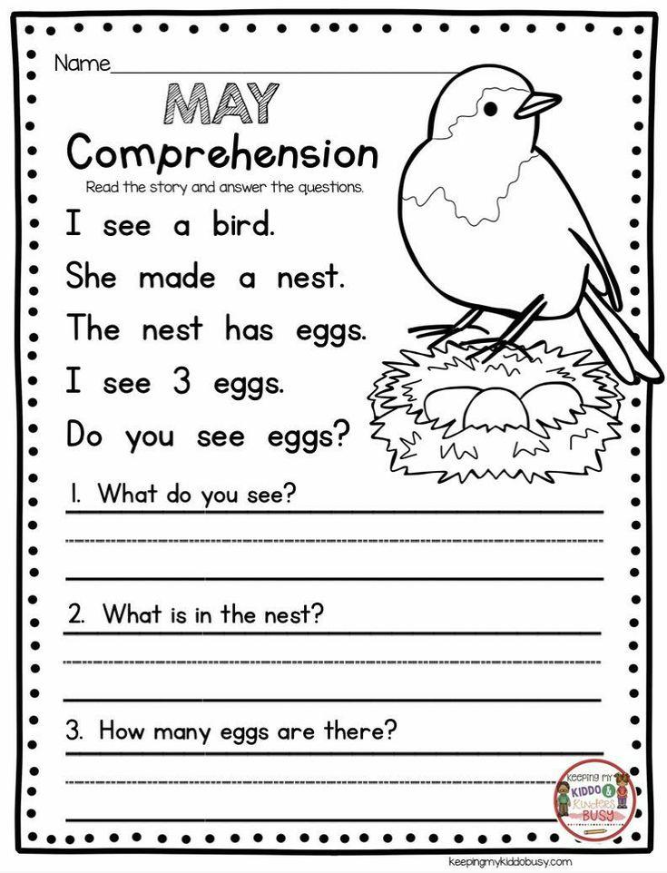Kindergarten Story Comprehension Worksheets