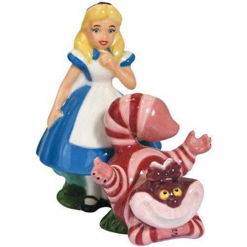 Alice & Cheshire Cat Magnetic Ceramic Salt & Pepper Shakers ~ Alice in Wonderland ~ Westland Giftware