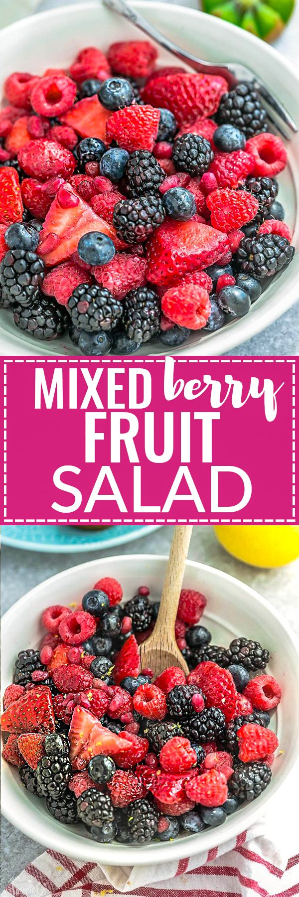 Mixed Berry Fruit Salad – a healthy snack or dessert with a refreshing lemon and honey glaze. Best of all, so easy to customize with your favorite fresh fruit. An easy red, white and blue dish that's perfect to bring along to Memorial Day, Fourth of July potluck, summer barbecue, party or picnic. A delicious snack for kids and adults!