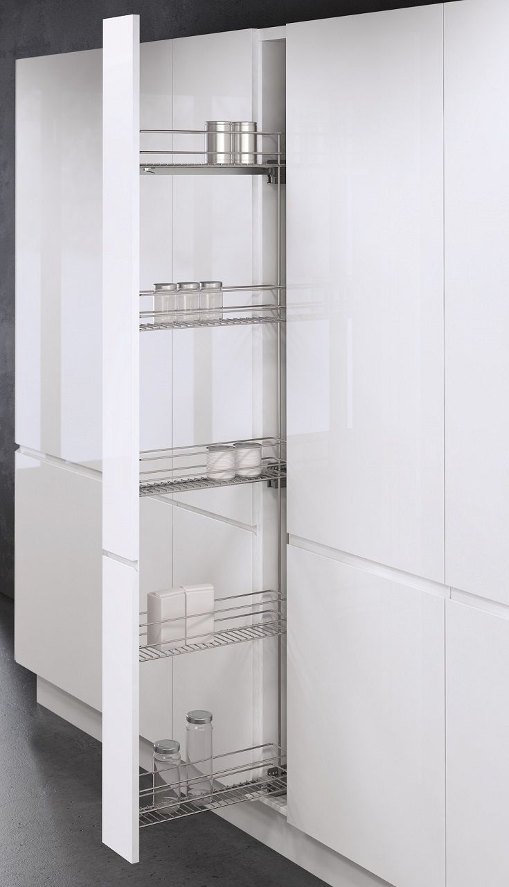 This Vauth Sagel Tall Pull Out provides convenient kitchen pantry storage in cabinets just 150mm wide. Great use of space in five chromed wire trays; great for packets, jars and cans. Full pull out allows ready access to contents. Soft close function on Austrian made ball bearing runners for easy use and low noise. 3D front adjustment for a perfect fit in your cabinet. Minimum height for installation 1750mm Minimum front to back depth for installation 500mm