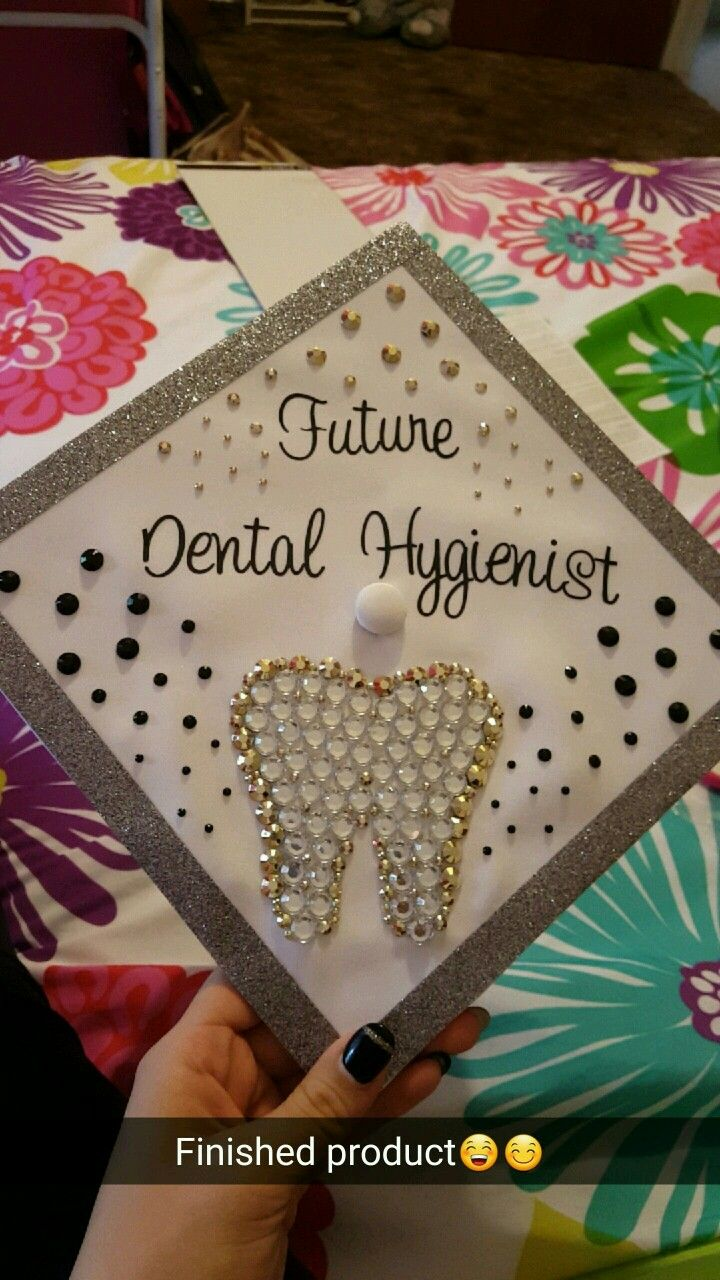 Dental hygienist graduation cap. Black Gold sequencing.