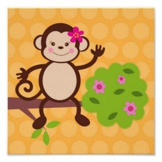 Cute wall art for a little girl's monkey bedroom