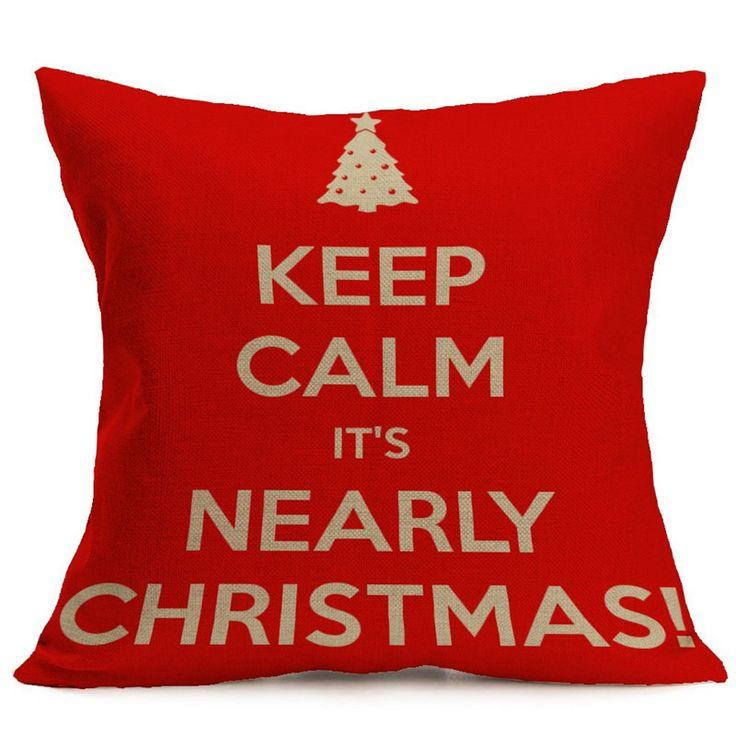 43*43CM Xmas Pillowcase Christmas Decorations For Home Tree Santa Claus Cotton Linen Cushion Cover Set Red Pillow Case