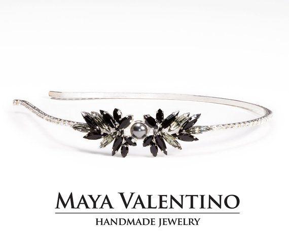 Crystals Headpiece Hair Jewelry Prom Trending Trends Black Diamond Oxidized Silver Goth