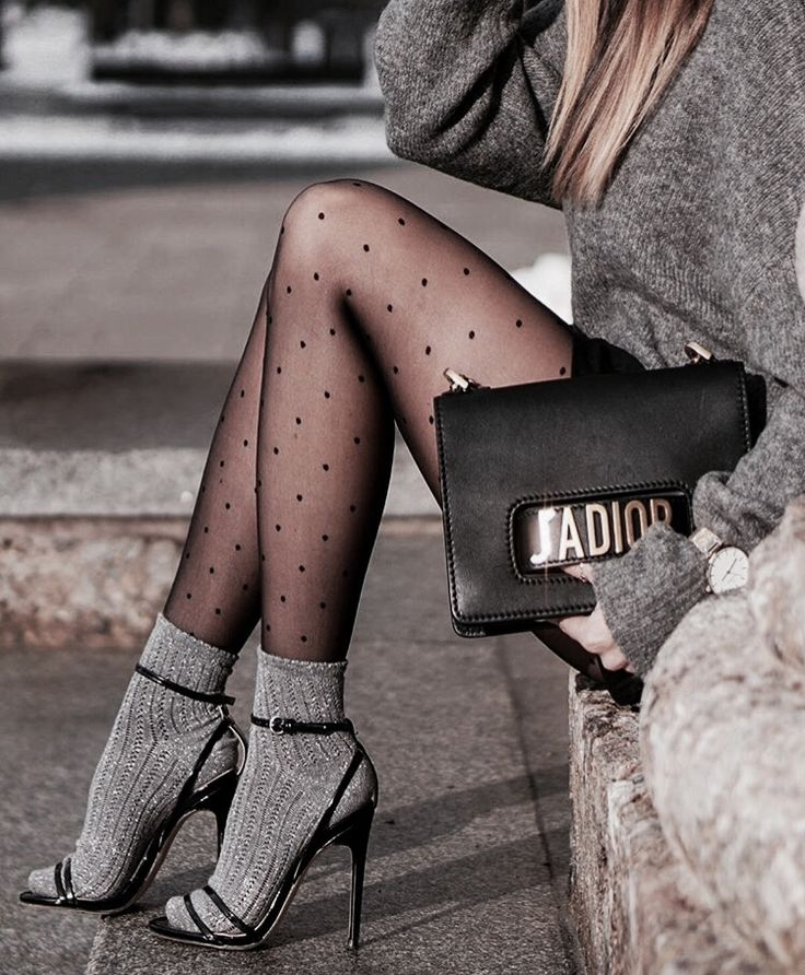 I like the sock and polka dot stockings combo but not the bag or heels