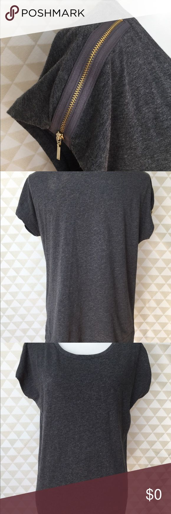 Gray Cotton Top w/Exposed Zipper Shoulder, S-XL Gray/charcoal short sleeve cotton top with gold colored exposed zipper detail on shoulder.   100% Cotton  This New Without Tags (NWOT) garment is directly from the manufacturer and has never been washed, worn, displayed in a store, or sold in any other retail venue. It is being sold for the first time but does not have tags. Tops Tees - Short Sleeve