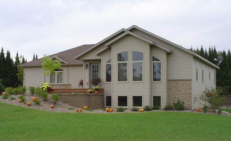 Custom chalet style modular home with view windows and a - Modular homes with basement ...