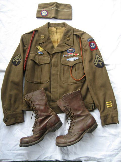 82nd airborne glider infantry ike jacket, overseas cap and jump boots.