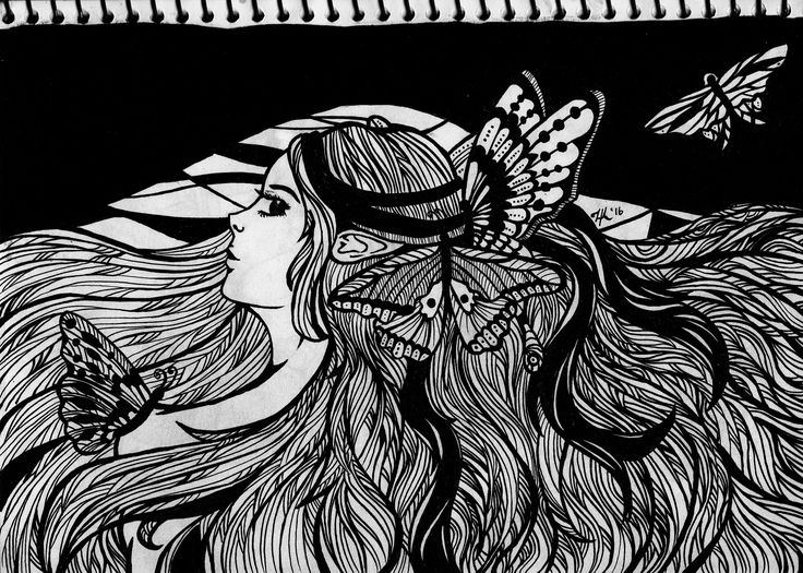 Butterfly. A traditional work. Ink on paper.