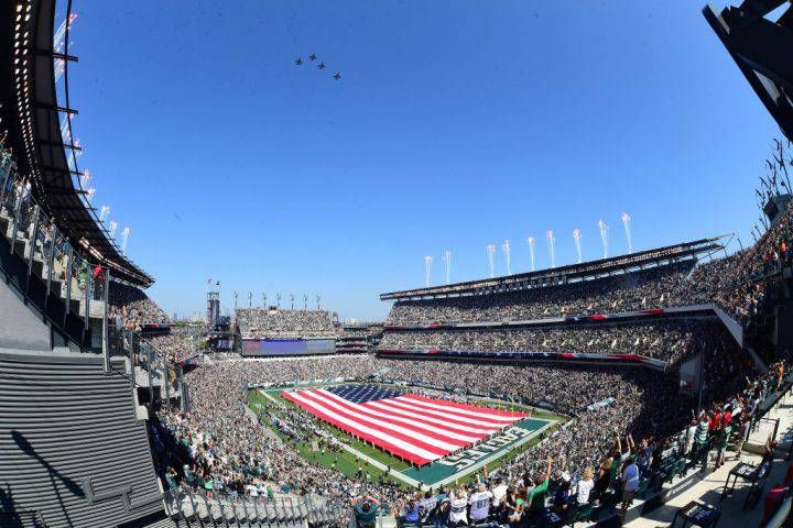 Stadium veiw of Lincoln Financial Field during a fly over during a NFL football game between the New York Giants and the Philadelphia Eagles on Sept. 24, 2017 at Lincoln Financial Field in Philadelphia, PA.