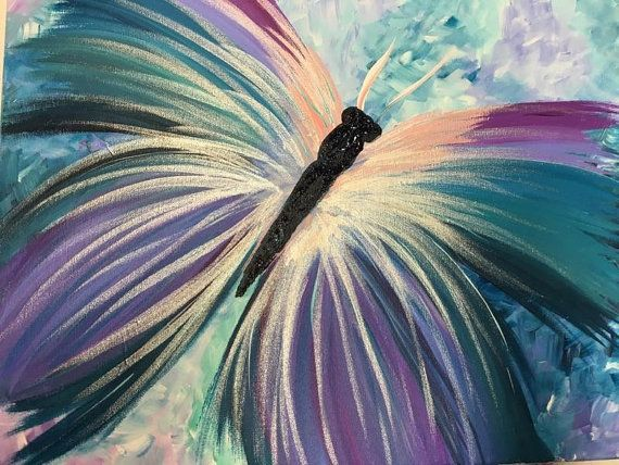 Acrylic butterfly Abstract painting with violets