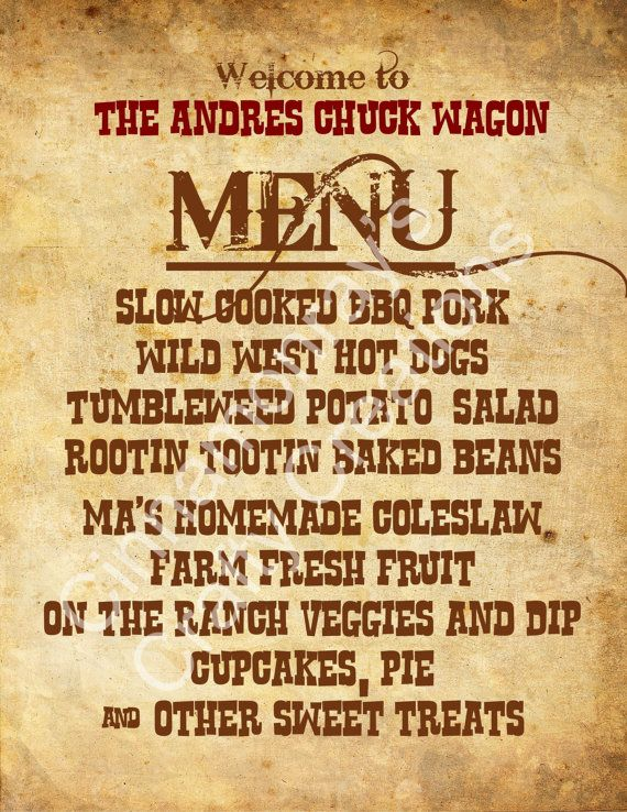Dinner Party Themes And Menus Part - 39: Personalized Rustic Western Themed Party Menu Sign By Cinnamonrays, $8.00