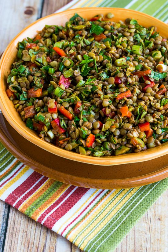 Lentil Salad with Green Olives, Red Bell Pepper, Green Onion, and Herbs (Vegan, Gluten-Free) | Kalyn's Kitchen®