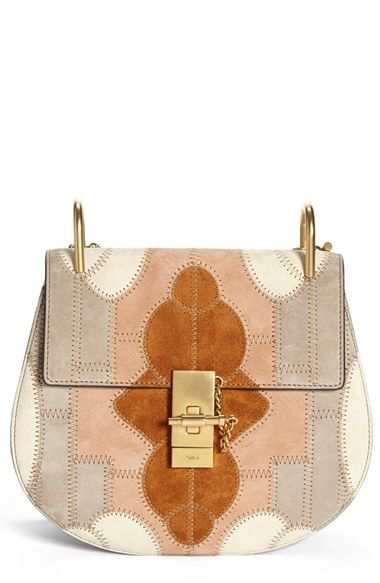DREW BAG IN SUEDE CALFSKIN RAINBOW PATCHWORK & SMOOTH CALFSKIN