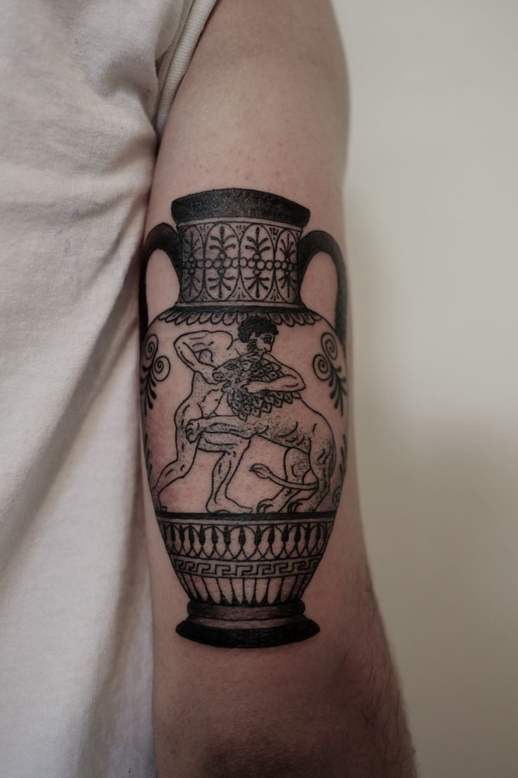 blank vase in my adiona tatto to simbolyze the recording of my journey like the greeks did | Done at Chapel Tattoo Melbourne.
