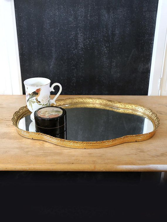 Vintage Oval Filigree Mirror Tray Or Wall Hollywood Regency Art Vanity Gold Tone Home Decor Pin Up Photo Prop Random