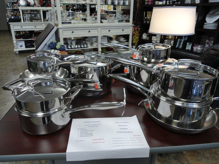 A collection of steel pots and pans at the Culinary Poet.