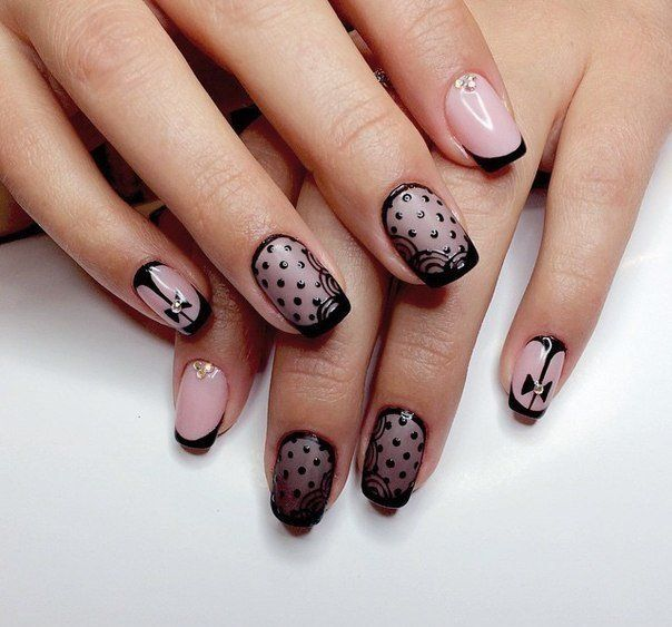149 best nail ideas and inspiration images on pinterest nail elegant black lace mesh gives it a seductive piquancy to manicure the short french is completed by patterns of dots soft lines and tiny bows prinsesfo Images