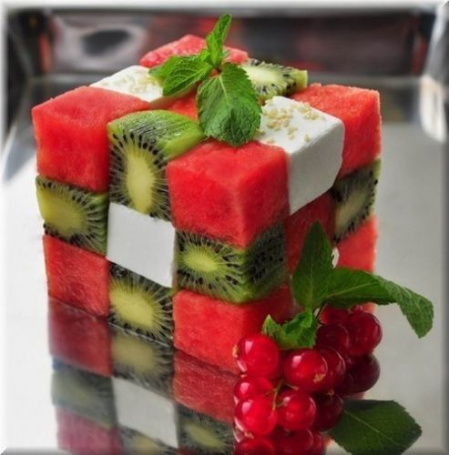 Fancy fruit salad! This looks delightful, but what are the white cubes? Looks like raw tofu which seems kinda weird with the fruit... Maybe yogurt? But how would you get cubed yogurt?!?