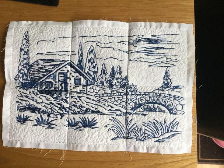 Embroidered toile scene