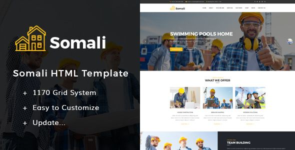 Somali  - Contruction Business HTML Template . Somali is a Premium Constructor Site Template for any kind of construction businesses and companies. Industry Company such mining, steelworks, welding all kind and other industrial services. Somali contain pages like Our Work, Services and Single Service page, contact form also included E-commerce