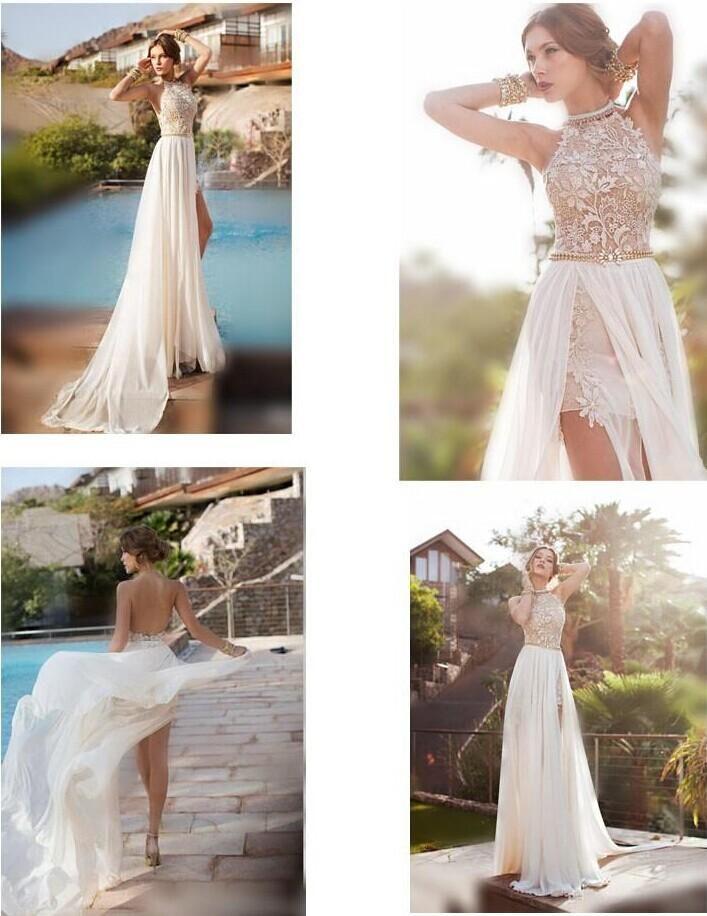 23fedcac87ca4 Discount Sale Bridal Dresses 2014 Sexy Beach Wedding Dresses Halter Neck  Dress Sleeveless Sheath Short Detachable Train Lace Chiffon Backless …