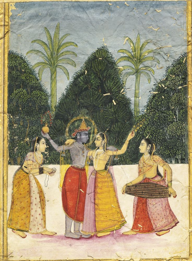A folio from a dispersed ragamala series, Vasant Ragini. Krishna and Radha in a stately dance as two musicians play cymbal and drum. She holds a sprig of blossoms and he holds a globular flask. Two distant palm trees stand upright sprouting leaves offering the promise of fertility. A delicately executed and quite formal evocation of Spring, the time of the Holi festival, their terrace splashed with red dye beneath their feet. Provincial Mughal, Bikaner, c1760.