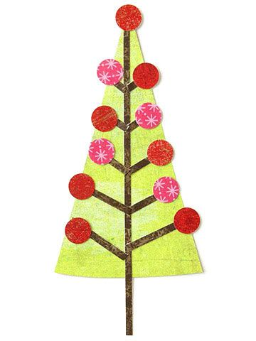 Design by Cathy Blackstone Punched circles make easy ornaments on this paper-pieced Christmas tree. To avoid a sticky mess, attach delicate shapes with a glue pen.   SOURCES: Patterned paper: BasicGrey (green, red distressed), Dream Street Papers (brown), Bella Blvd. (red star)./