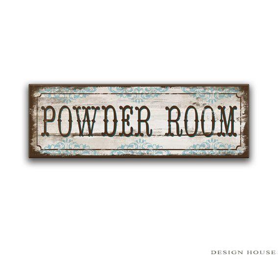 """Powder room handmade wooden sign powder room decor powder room plaques h restroom signs restroom decor restroom plaques 18.5""""x6""""x3/4"""""""