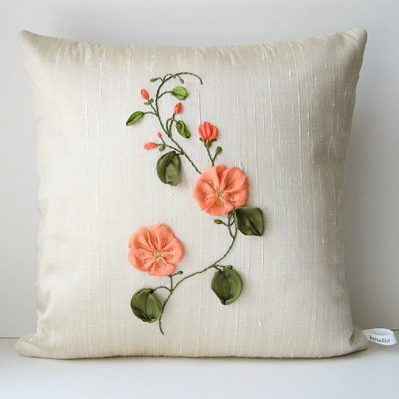 Peach Flowers Pillow Cover silk ribbon embroidery by bstudio
