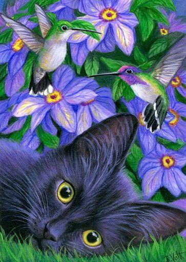 ACEO ursprünglicher Katzenkolibri-Garten blüht Malereikunst | Kunst, Gemälde | eBa …