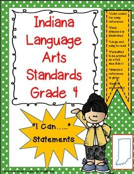 "These posters are created for Indiana Standards for 4th grade Language Arts. They are written in the ""I can...."" format. Written on full size pages, they may be used to post in the classroom to communicate to students what they are expected to know and be able to do."