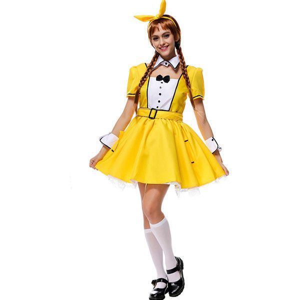 Yellow Cute Halloween Costume (£22) ❤ liked on Polyvore featuring costumes, white costumes, maid costume, white halloween costumes, maid halloween costume and yellow costumes