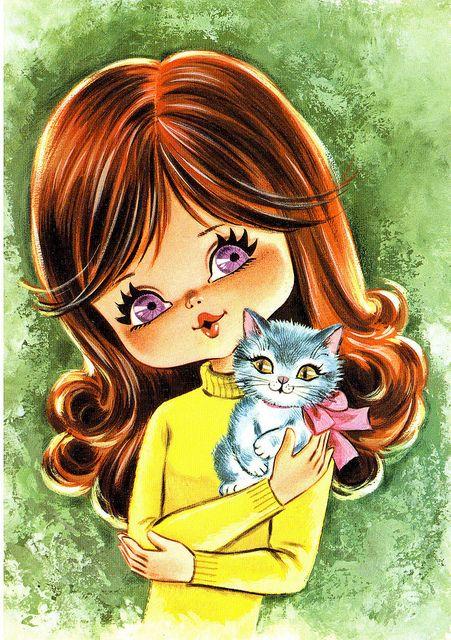 Big Eyed Girl Vintage Postcard, via Flickr.