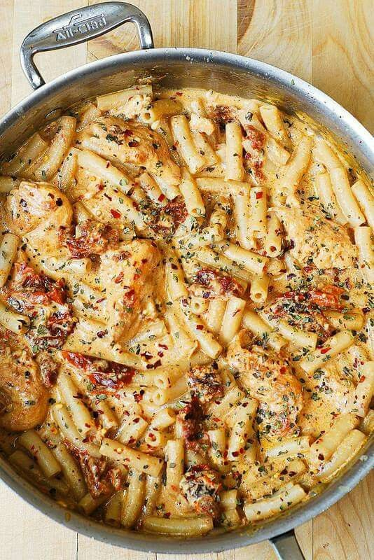 Mozzarella, chicken, and pasta. I love those things together.