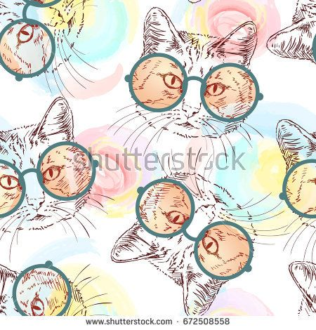 Seamless vector pattern with sketch of cat wearing orange round glasses, isolated head on background of watercolor stains