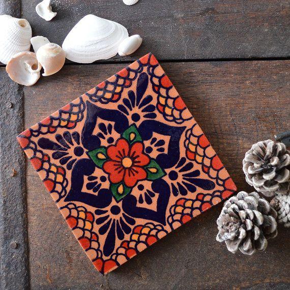 Salt Blossom Mexican Tile Coaster Set 4 By Fiveacresgoods On Etsy