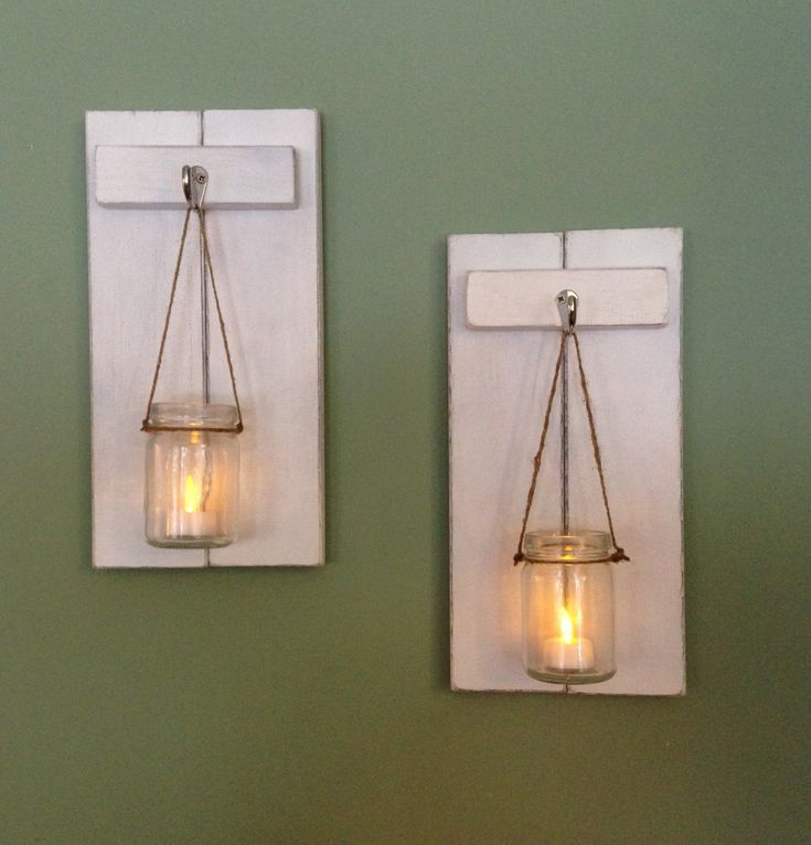Rustic Wall Sconce Wooden Candle Holder Mason Jar Candle Holder Rustic Sconce Wooden Wall Sconce Rustic Decor Wall Sconce Set of 2 (45.00 USD) by CoveDecor