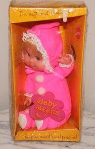Vintage Mattel Beans Dolls 1970s Pink Sleeper Bitty Beans