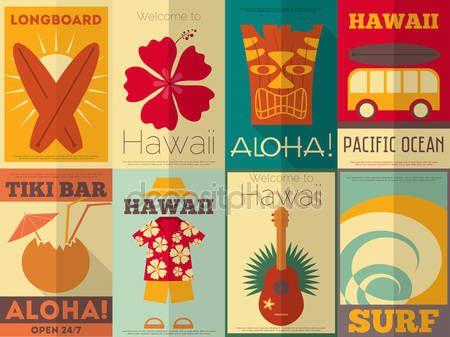 Colecção de cartazes retro do Havaí — Vetores de Stock © elfivetrov #39920201
