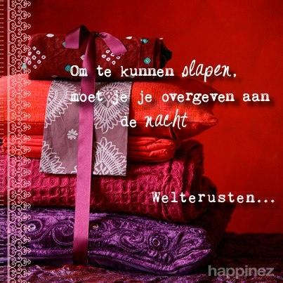 'Om te kunnen slapen, moet je je overgeven aan de nacht Welterusten...' - Happinez