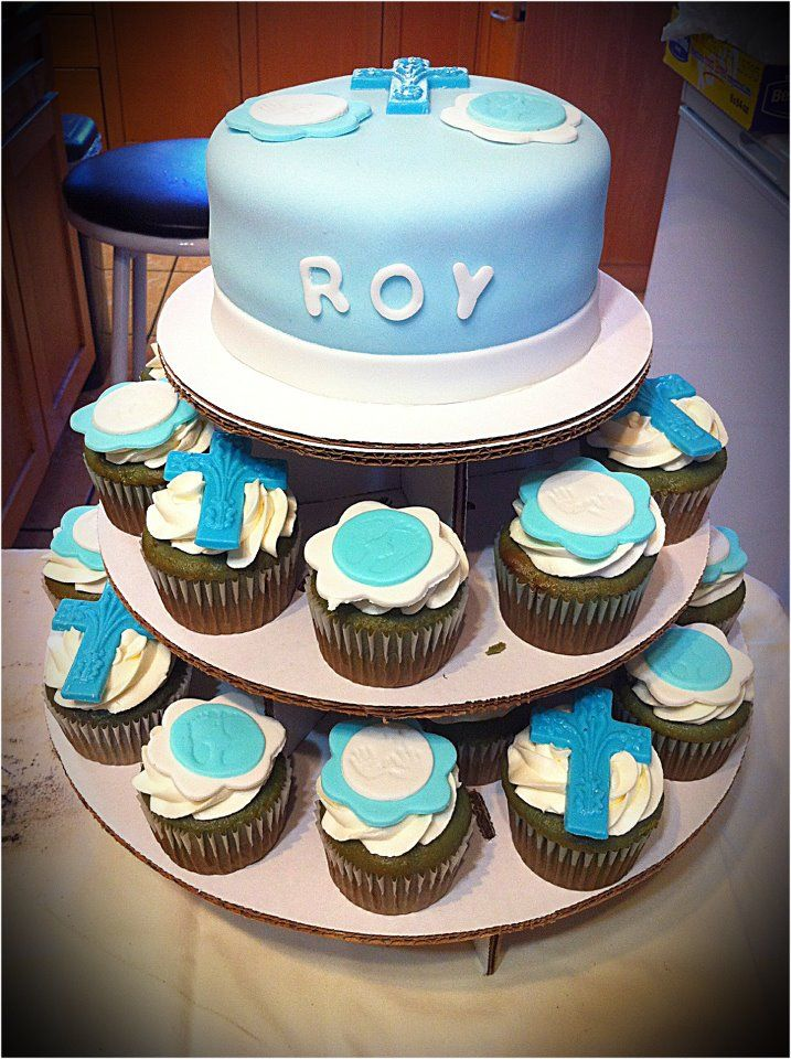 Baby Boy Baptism Cake & cupcakes!