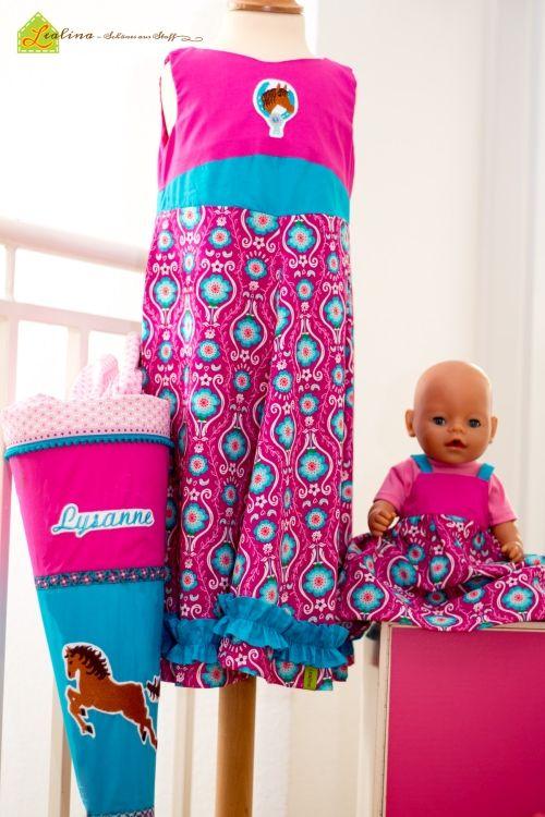 Einschulungskombi bestehend aus (vereinfachtem) Kleid Unique (#farbenmix) mit einer Stickerei von #huups, einem Puppenkleid für #Babyborn nach eigenem Schnitt und einer passenden Schultüte nach dem Schnitt von #jolijou (erhätlich bei #farbenmix) aus den wunderschönen Poppy go lucky Stoffen von #jolijou. Ein Mädchentraum... ! ;-)