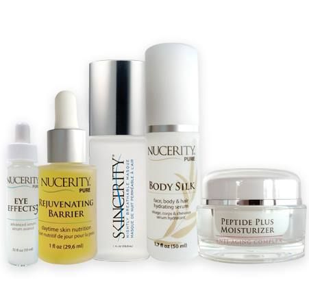Our 5 products Eye Effects 3 Rejuvenating Barrier Skincerity Body Silk Peptide Plus