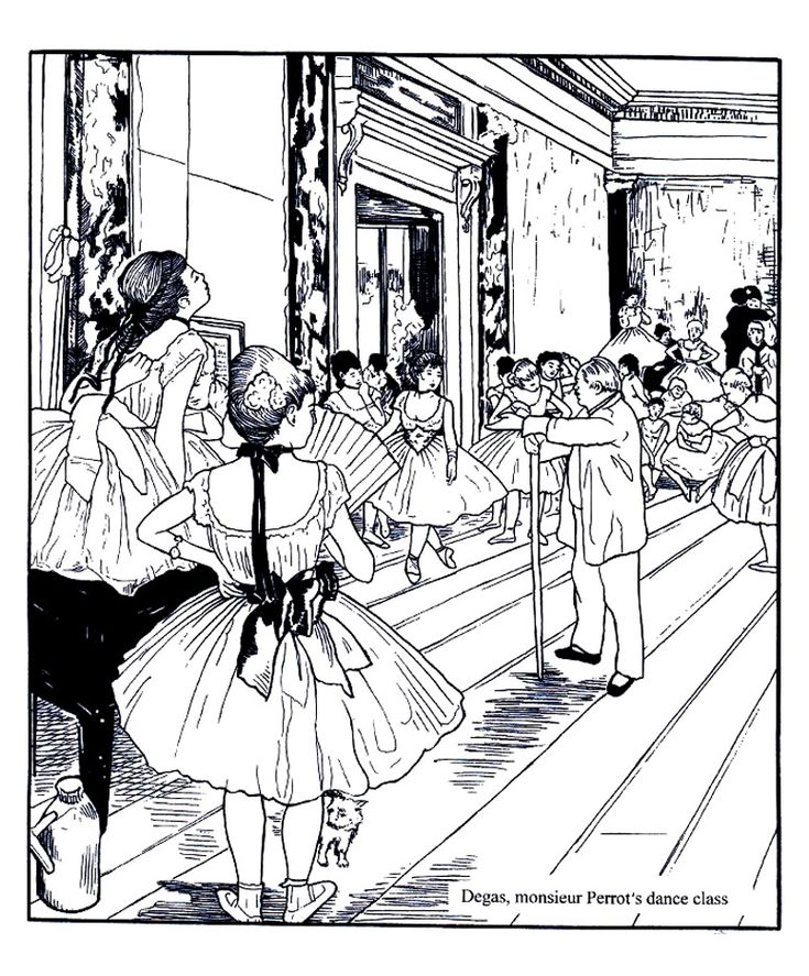 free coloring page coloring adult degas dance class coloring adult