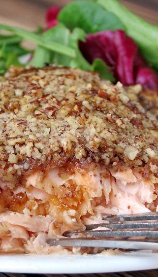 Bourbon Pecan Roasted Salmon, yum!
