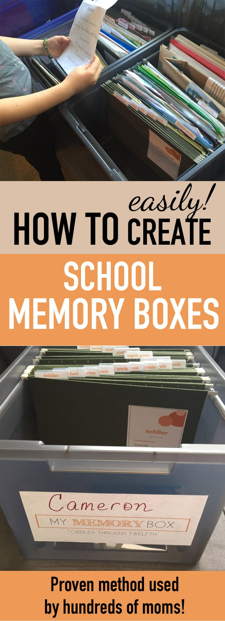 So helpful! How to make kids school memory boxes--awesome way to save kids school memorabilia and kids school papers without all those piles! So much better than scrapbooks or binders.