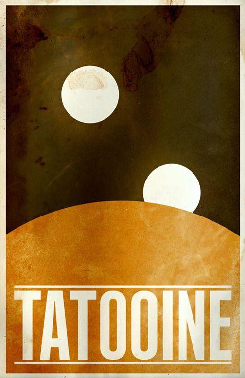 Tattooine - minimalist Posters of planets from the Star Wars galaxy